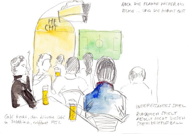Erdmaedchen Urban Sketch EM Eröffnungsspiel Frankreich - Rumänien im Café Hecht Austria Feldkirch