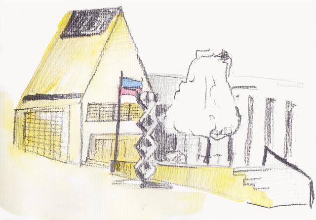 Erdmaedchen - Urban Sketch Vaduz Liechtenstein Peter Kaiser Platz